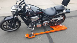 Holy Roller adjustable low-profile motorcycle dolly, available on order now! Call 970-690-6856 to order yours today! Manufactured and marketed by FusionFab.com, Loveland Colorado